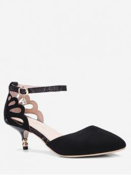 4cm Spring/Fall and Summer Suede Suede Rubber Dress Kitten Pointed Closed Ankle Suede Ankle-strap Kitten Heel Sandals