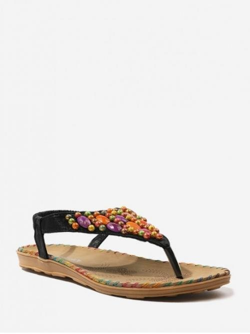 Summer PU Rubber Beading Geometric Elastic Flat Ankle Beach and Casual and Daily Bohemian and Casual and Ethnic and Fashion For Beach Beads Flat Elastic Thong Sandals