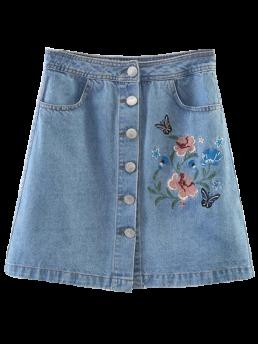 Embroidery Floral A-Line Mini Denim Embroidered Single-Breasted Denim Skirt