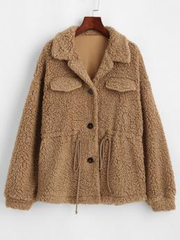 Women's Full Sleeve Wide-waisted Polyester Solid Faux Fur Drawstring Teddy Coat