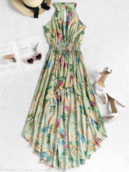 Summer No Floral Sleeveless Ankle-Length Round Asymmetrical Casual  and Day and Going Brief Smocked Waist Floral High Low Dress