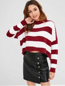 Autumn and Winter Elastic Full Drop Crew Short Loose Fashion Daily and Going Pullovers Two Tone Chenille Striped Sweater
