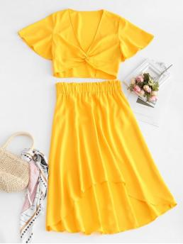 No Summer Solid Flat Elastic High Nonelastic Short V Asymmetrical Fashion Daily Twist Top And High Low Skirt Set