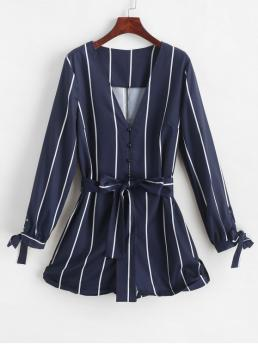 Fall and Spring Yes Tie Striped Elastic Long V-Collar Mini Regular Fashion Daily and Going Button Loop Tied Sleeve Stripes Romper