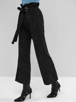 Fall and Spring Yes Nonelastic Zipper Wide Normal Solid Sashes and Slit Flat Regular High Fashion Belted Slit Wide Leg Corduroy Paperbag Pants