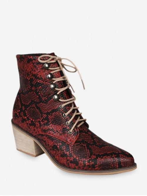 Fashion and Trendy PU Lace-Up Animal Chunky Pointed Ankle Fall and Spring Fashion For Snakeskin Print Pointed Toe Stacked Heel Boots