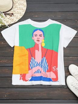 Summer Figure Short Round Regular Fashion Cotton Figure Graphic T-Shirt