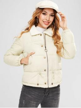 No Winter Solid Zipper Turn-down Full Regular High Fashion Down Daily and Going Zip Up Drawstring Quilted Jacket