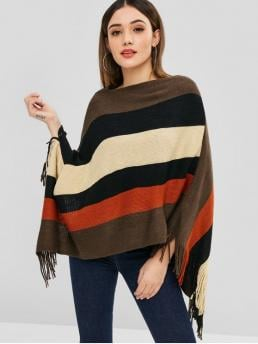 Autumn and Winter Fringed Nonelastic Full Batwing Slash Long Asymmetrical Fashion Daily Pullovers Color Block Fringed Poncho Sweater
