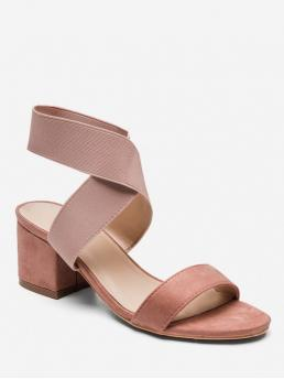 Summer Stretch Rubber Solid Slip-On Chunky Cross-Strap Daily and Work Fashion For Cross Stretch Elastic Chunky Heel Sandals