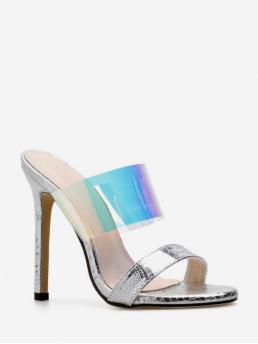Summer PU 11cm Rubber Others Slip-On Stiletto Slides Casual and Club and Daily Casual and Fashion and Mature For European Stylish Transparent High Heel Sandals