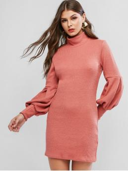 No Fall and Winter Elastic Solid Long Lantern High Mini Sheath Casual and Day Brief Lantern Sleeve High Neck Short Sweater Dress