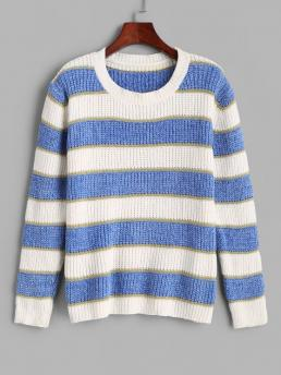 Womens Full Sleeve Pullovers Acrylic Striped Stripes Glitter Threads Chenille Sweater