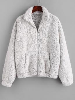 Full Sleeve Wide-waisted Polyester Solid Pockets Fluffy Faux Fur Teddy Coat Fashion