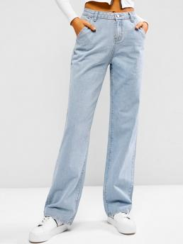 Affordable Light Blue Loose Normal Casual Light Wash Baggy Boyfriend Jeans