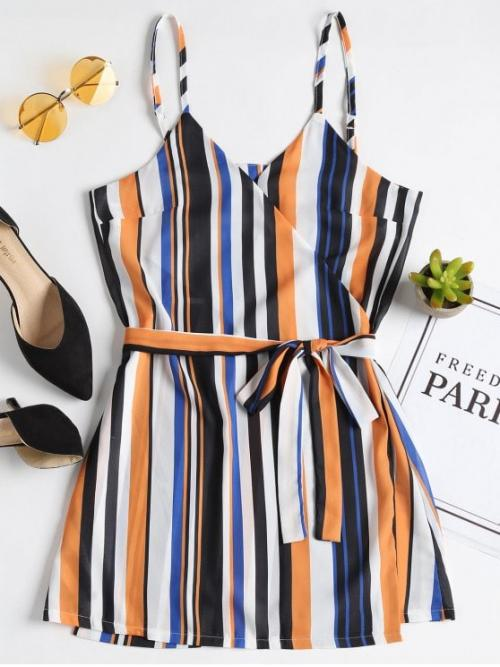 Summer Yes Striped Sleeveless Spaghetti Wrap Mini Casual and Going Stripes Wrap Mini Dress