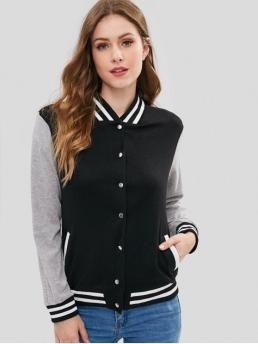 Striped Stand-Up Full Regular Wide-waisted Active Jackets Button Front Varsity Baseball Jacket