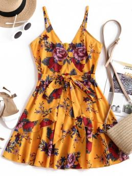 No Summer Floral Ruffles Sleeveless Spaghetti Mini A-Line Day and Vacation Fashion Ruffles Knotted Floral Cami Dress