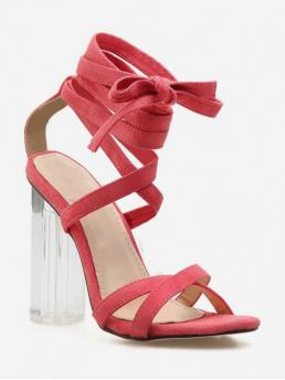 Summer Corduroy Rubber Others Lace-Up Chunky Ankle-Wrap Casual and Daily Fashion For High Heel Crystal Heel Ankle Wrap Sandals