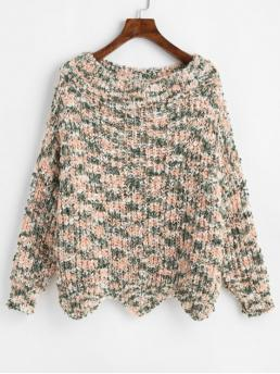 Autumn Others Elastic Full Drop Round Regular Loose Casual Daily Pullovers Wave Hem Contrast Chunky Sweater