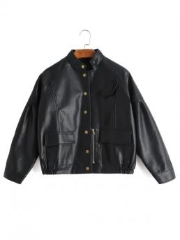 Solid Stand-Up Full Wide-waisted Casual Jackets Snap Button Faux Leather Jacket