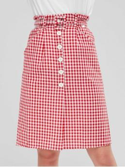 Fall Zipper Gingham A-Line Mid-Calf Daily Leisure Buttons Gingham Belted Skirt
