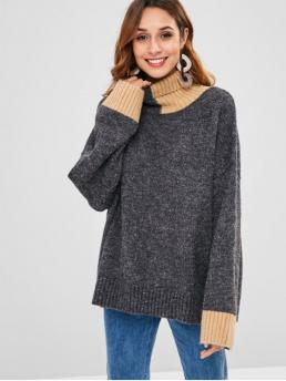 Autumn and Winter Patchwork Micro-elastic Full Turtlecollar Regular Loose Fashion Daily and Going Pullovers Oversized Turtleneck Sweater
