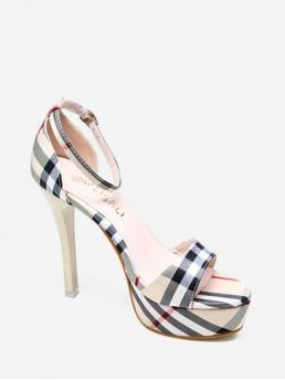 Apricot Suede 13 Rubber Plaid Buckle Stiletto Ankle-Wrap Daily Fashion For Plaid Design Stiletto Heel Sandals