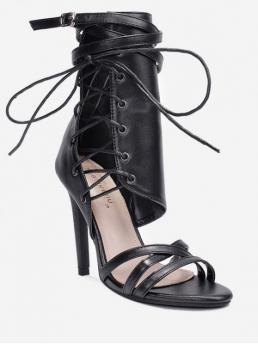 Summer PU 11CM Rubber Solid Lace-Up Stiletto Ankle-Wrap Club and Daily Fashion For Cross Strap Hollowed High Heel Sandals