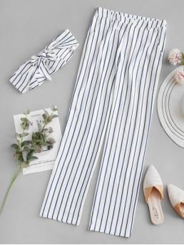No Summer Striped Flat Zipper High Sleeveless Strapless Regular Fashion Casual and Daily Padded Striped Zipper Pants Set
