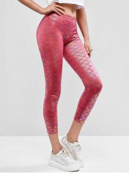 Spring and Summer 7/8 Print Mid Daily and Going Fashion Glitter Metallic Scale Print Mermaid Leggings