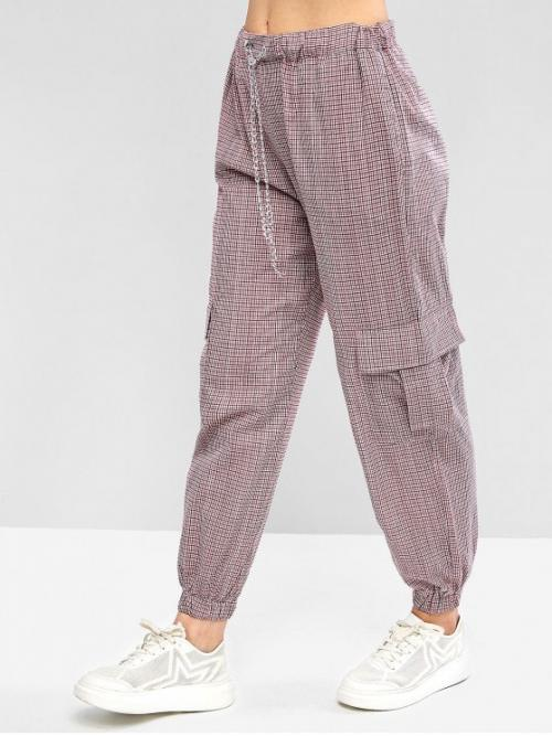 Fall Drawstring Jogger Gingham Chains Loose Mid Casual Gingham Chains Drawstring Jogger Pants
