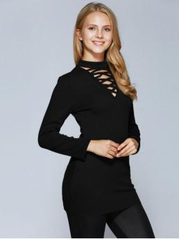 Fall and Spring Solid Full Square Casual Lacing Choker Top