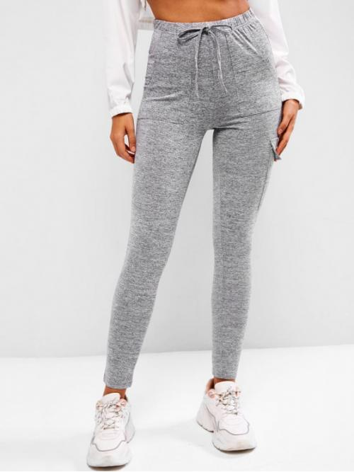 Dark Gray Others Full Casual Tie Waist Flap Pocket Marled Sports Leggings Affordable