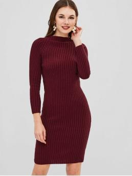 No Winter Elastic Solid Long Raglan Crew Knee-Length Sheath Day and Work Brief Knee Length Bodycon Sweater Dress