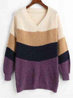 Autumn Patchwork Elastic Full Drop V-Collar Long Regular Casual Daily Pullovers Color Block V Neck Chunky Knit Sweater