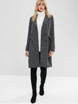 Pockets Others Double Lapel Full X-Long Wide-waisted Long Casual Double Breasted Lapel Tweed Coat