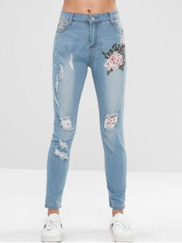 Micro-elastic Fall and Spring Embroidery Zipper Regular Normal Light Fashion Distressed Floral Embroidered Jeans