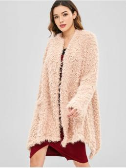 Autumn and Spring and Winter Button Nonelastic Full Collarless Long Loose Casual Cardigans High Low Hem Fuzzy Cardigan