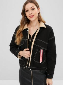 Nonelastic Winter Embroidery and Front Letter Single Shirt Full Regular Wide-waisted Fashion Jackets Daily Letter Embroidered Fluffy Lining Denim Jacket