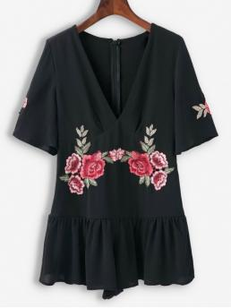 Spring No Patch Floral Short V-Collar Loose Casual Casual Floral Patched Ruffles Wide Leg Romper
