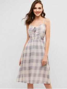 No Summer Nonelastic Plaid Lace Sleeveless Spaghetti Knee-Length A-Line Casual and Day Fashion Plaid Lace Up Cami Dress