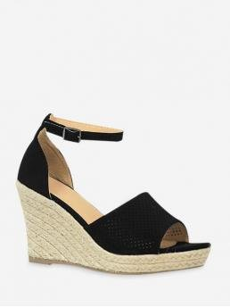 Summer Suede 8CM Solid Buckle Wedge Ankle Beach and Daily Leisure For Ankle Strap Wedge Heel Espadrille Sandals