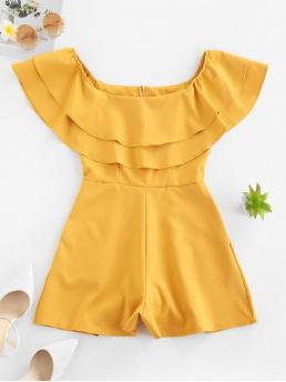 Summer No Solid Nonelastic Short Off Mini Regular Fashion Daily and Going Seam Pockets Layered Off Shoulder Romper