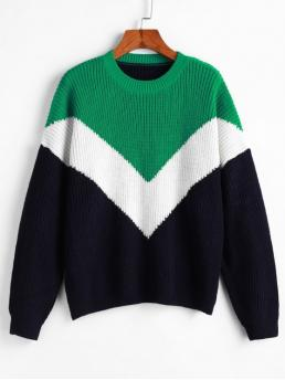 Autumn and Spring and Winter Patchwork Elastic Full Drop Crew Regular Loose Fashion Daily and Going Pullovers Drop Shoulder Crew Neck Color Block Sweater