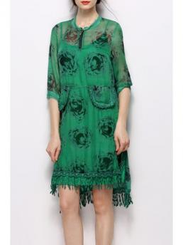Summer No Floral Zippers 1/2 Mini Straight Stand Outer Causal Brief Stand Collar Printed Fringed Dress