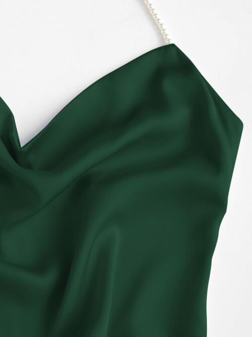 Ladies Deep Green Solid Color Sleeveless Polyester,spandex Faux Pearl Party Dress