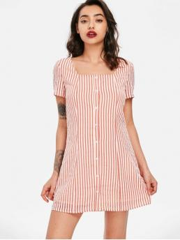 No Spring and Summer Striped Short Square Mini Straight Casual and Day Casual Striped Square Neck Dress