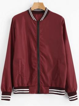 Autumn Striped Stand-Up Full Short Wide-waisted Fashion Jackets Zip Up Light Bomber Jacket