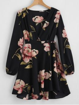 No Spring Floral Long V-Collar Mini Wrap A-Line Beach and Casual and Vacation Casual Floral Print V Neck Wrap Dress